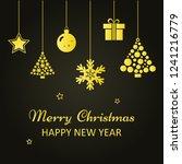 christmas greeting card. golden ... | Shutterstock .eps vector #1241216779