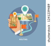 routing navigation flat icon   Shutterstock .eps vector #1241239489
