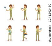 vector young adult woman in... | Shutterstock .eps vector #1241242450