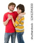 young casual happy couple ... | Shutterstock . vector #1241254333