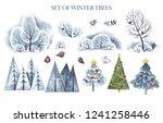 watercolor set of winter trees  ... | Shutterstock . vector #1241258446
