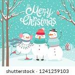 cute snowmen hugging. merry... | Shutterstock .eps vector #1241259103