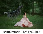 Small photo of Brunette girl in a panic runs away from death. Dark evil curse haunting woman. Enchanted princess in a luxurious, flying, waving dress. Art photo