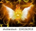 Flaming God. Winged Eye In Fire....