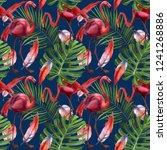 watercolor tropical wildlife ... | Shutterstock . vector #1241268886