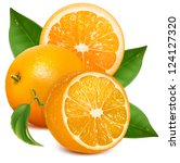 oranges with leaves. half cut... | Shutterstock .eps vector #124127320
