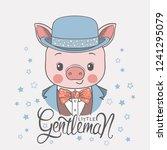 cute piggy boy face with bowler ...   Shutterstock .eps vector #1241295079