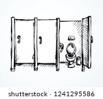 clean cubicle pee cistern in on ... | Shutterstock .eps vector #1241295586