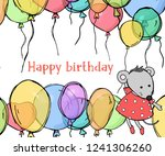 holiday card with balloons and...   Shutterstock .eps vector #1241306260
