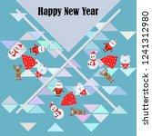 christmas card  santa snowman...   Shutterstock .eps vector #1241312980