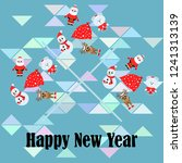 christmas card  santa snowman...   Shutterstock .eps vector #1241313139