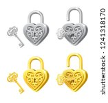 vector set of heart locks and...