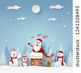 paper art  craft style of santa ... | Shutterstock .eps vector #1241328493