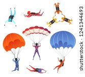 parachute jumpers. extreme... | Shutterstock .eps vector #1241344693