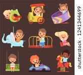 amusement park kids. playing... | Shutterstock .eps vector #1241344699
