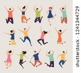 jumping people. young and adult ...   Shutterstock .eps vector #1241344729
