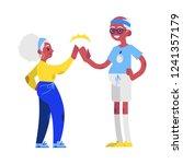 vector flat elderly man and... | Shutterstock .eps vector #1241357179