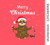 christmas greeting card with... | Shutterstock .eps vector #1241364046