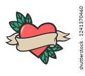 tattoo heart with beige ribbon. ... | Shutterstock .eps vector #1241370460