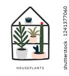houseplants and succulents hand ... | Shutterstock .eps vector #1241377060