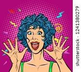 joyful woman  girls 80s.... | Shutterstock .eps vector #1241380279