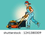 lawn mower worker. profession... | Shutterstock .eps vector #1241380309