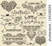 vector vintage valentine's ... | Shutterstock .eps vector #124138243