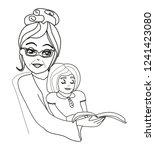 grandma reads a fairy tale to... | Shutterstock . vector #1241423080