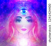 woman with third eye  psychic... | Shutterstock . vector #1241424400