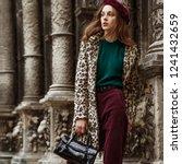 outdoor fashion portrait of... | Shutterstock . vector #1241432659