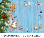 holiday card with fir tree and... | Shutterstock .eps vector #1241456380