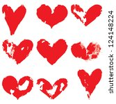 grunge hearts. vector set | Shutterstock .eps vector #124148224