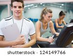 male spinning class instructor... | Shutterstock . vector #124149766