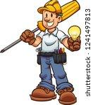 cartoon electrician holding an... | Shutterstock .eps vector #1241497813