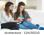 women doing their homework on... | Shutterstock . vector #124150210