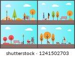 people walking in autumnal park ... | Shutterstock .eps vector #1241502703