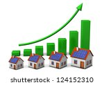 houses with green chart on the... | Shutterstock . vector #124152310