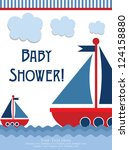 baby shower card design. vector ... | Shutterstock .eps vector #124158880