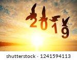 silhouette  seagull bird... | Shutterstock . vector #1241594113
