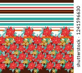 seamless border in poinsettia.   Shutterstock . vector #1241596630