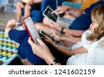 phone addicted family using... | Shutterstock . vector #1241602159