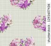 seamless floral pattern with... | Shutterstock .eps vector #1241607436
