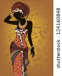 Hand drawn illustration  Beautiful black woman.African woman