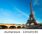 view of the eiffel tower at...   Shutterstock . vector #124165150