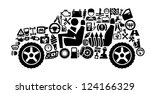 vector black auto icons set on... | Shutterstock .eps vector #124166329