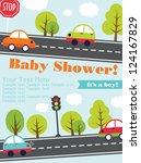 baby shower card design. vector ... | Shutterstock .eps vector #124167829