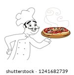 chef with pizza   doodle... | Shutterstock .eps vector #1241682739