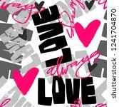 love graffiti seamless hand... | Shutterstock .eps vector #1241704870