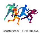 colored silhouettes of runners | Shutterstock .eps vector #1241708566