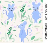 cute mouse with floral and leaf ... | Shutterstock .eps vector #1241709109
